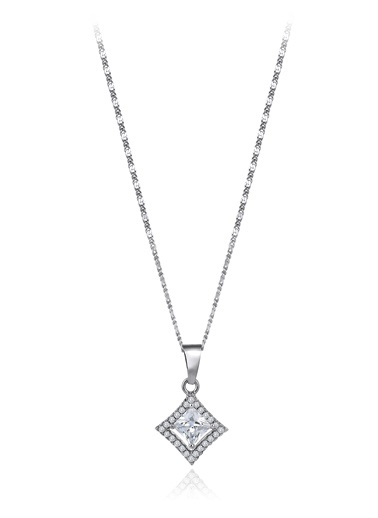0,60 Ct Pırlanta Efekt Altın Entourage Princess Kolye-Tophills Diamond Co.